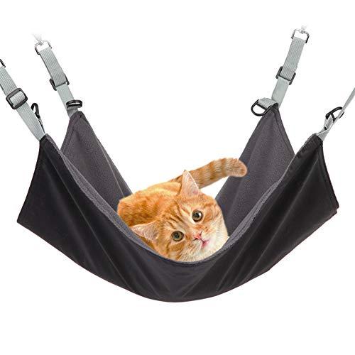 Gelentea Katzen-Hängematte Liegestuhl hängend weich Haustierbett kühl/warm Matte mit verstellbarem Riemen Schlafkissen für Katzen / kleine Hunde / Kaninchen / andere kleine Tiere Schwarz