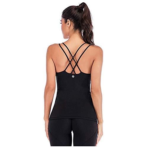 Leoyee Débardeur Femme Yoga Gilet Sport Compression T-Shirt Extensible sans Manches Dos Nu Top Sexy pour Sport Fitness Gym Running Veste (Noir, Small)