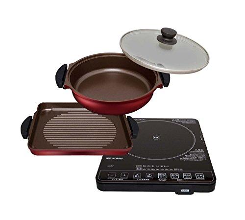 アイリスオーヤマ ガラストップIHクッキングヒーター&焼き肉プレート&鍋セット IHC-T51S-B