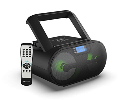 Riptunes CD Player Bluetooth Boombox AM/FM Portable Radio, Digital LCD MP3/CD, USB, mSD, Aux, Headphone Jack Stereo Sound System with Enhanced Bass, LCD Display with Remote, Black