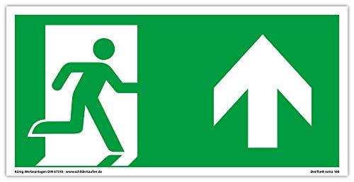 Schild Notausgang | extra langnachleuchtend | PVC selbstklebend 297x148mm | gemäß ASR A1.3 DIN 7010 DIN 67510 | Notausgangsschild rechts aufwärts geradeaus| Fluchtweg Rettungsweg | Dreifke® extra 160
