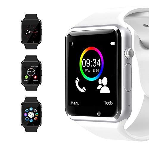 Bluetooth Smart Watch Reloj Inteligente Mujer Hombre Smartwatch Pantalla táctil con Ranura para Tarjeta SIM Cámara Podómetro Moviles Pulsera de Actividad para Android iOS (Blanco)