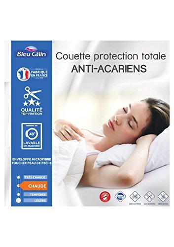 Bleu Calin Couette Protection Totale Anti acariens Sanitized 400 GR/m² (Couette Anti acariens Blanche, 140 x 200 cm pour lit 1 Place 90 x 190 cm)