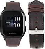 SkyBand Vene Pelle Classica Cinturino Compatibile per Smartwatch Garmin Venu Sq (caffè)
