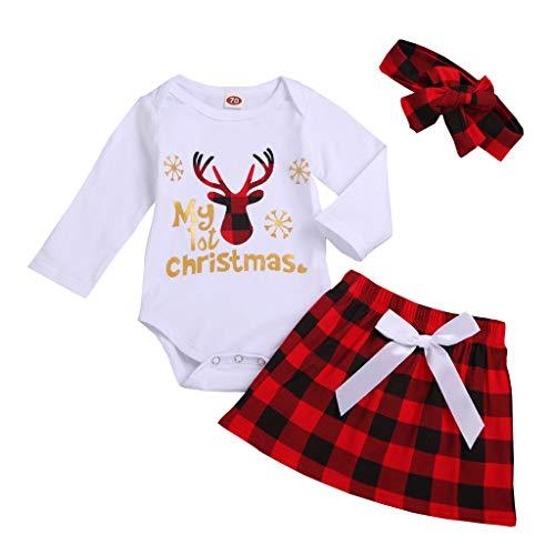 Deloito Kleinkind Baby Kleidung Jungen Mädchen T-Shirts Tops Weihnachten Langarm Bluse Hose Weihnachtsmann Deer Pyjamas Nachtwäsche Outfits Home-Service (Weiß, 70/3-6 M)