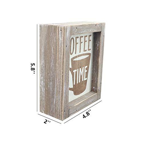 Parisloft Coffe Time Rustic Barn Wood Small Coffee Box Sign Decor for Kitchen, Rustic Wooden Coffee Sign for Coffee Bar Farmhouse Kitchen Decor Wood Home Decor 5.8''x4.8''
