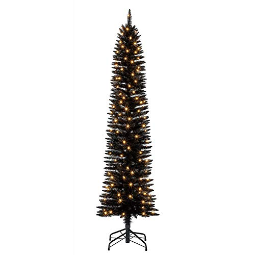 Home Heritage 7 Foot Pencil Artificial Tree with Warm White LED Lights, Black