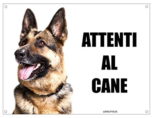 PASTORE TEDESCO attenti al cane mod 4 TARGA cartello IN METALLO (15X20)