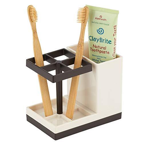 mDesign Porta spazzolini da appoggio – Bicchiere portaspazzolini con 4 scomparti per spazzolini e uno per dentifricio – Contenitore per spazzolini – crema e bronzo