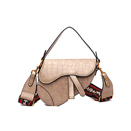 Saddle Shoulder Bag for Women Fashion Crocodile Snake Pattern Small Top Handle Handbag Crossbody Handbag Purse-Khaki Serpentine