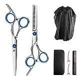 Juego de tijeras de corte de pelo profesional, tijeras de corte de pelo de calidad, con peine, clip y bolsa de almacenamiento de cuero para peluquería, salón o casa