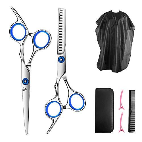 Haarschere Set, Edelstahl Haarschneideschere, Premium Scharfe Friseurscheren zum Ausdünnen und Strukturieren, Perfekter Haarschnitt für Damen und Herren