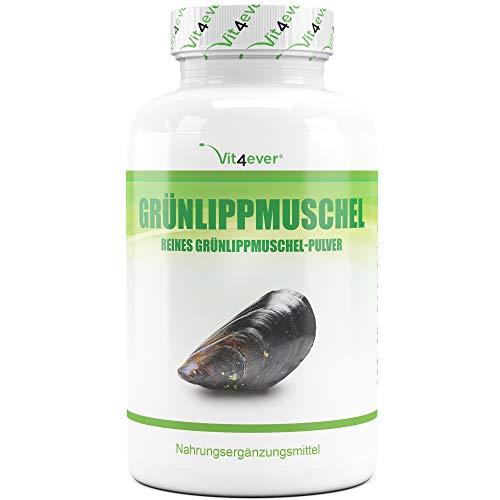 Grünlippmuschel - 365 Kapseln mit je 600 mg - Premium: Mit Glycosaminoglykane - Hochdosiertes Grünlippmuschelextrakt - 100% Grünlippmuschelpulver aus Neuseeland ohne Zusätze - Laborgeprüft