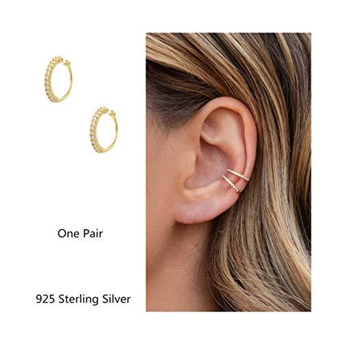 Fake Hoop Earrings CZ Cubic Zirconia Cartilage Earring 925 Sterling Silver Earings Ear Cuff Dainty Minimal Conch Piercing Non Pierced Ear Pods Clip on Earrings Jewelry for Women Girls Gold