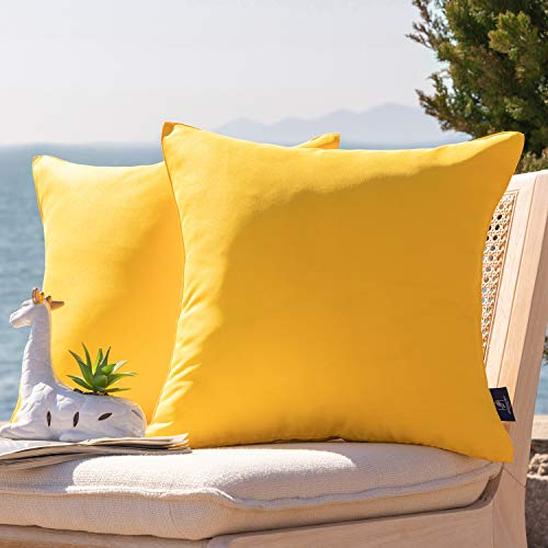 Phantoscope Pack of 2 Outdoor Waterproof Throw Pillow Covers Decorative Square Outdoor Pillows Cushion Case Patio Pillows for Couch Tent Christmas, Yellow 18x18 inches 45x45 cm