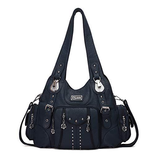 KL928 Damen Tasche Handtasche Schultertasche Umhängetaschen leder Damenhandtasche Henkeltaschen Lederhandtasche Rucksack vintage taschen für Damen (XS160199-blue)