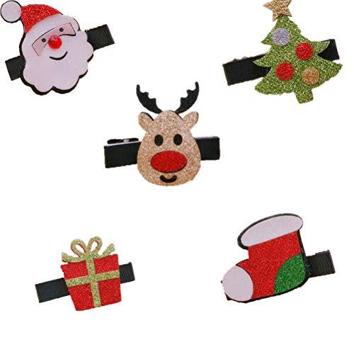 Lurrose 5 stuks kleurrijke haarspelden Kerstman eland boom geschenk sok decor zijde clip haarspeld metalen spelden voor Kerstmis (Kerstman, eland, boom, cadeau, sok, elk patroon heeft 1 stuks)