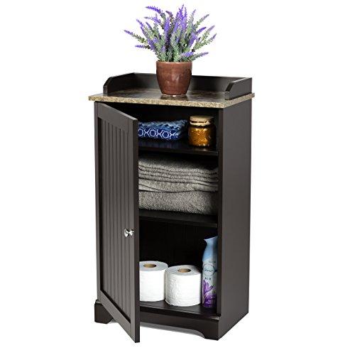 Best Choice Products Modern Contemporary Bathroom Floor Storage Organizer Cabinet w/3 Shelves, Versatile Door - Brown