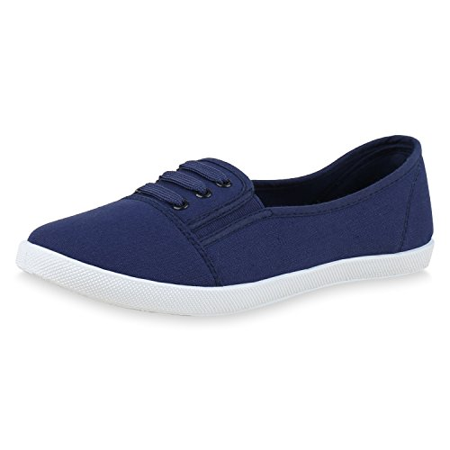 SCARPE VITA Damen Slippers Slip Ons Basic Turnschuhe Flats Ballerinas Sneaker 160874 Blau 41