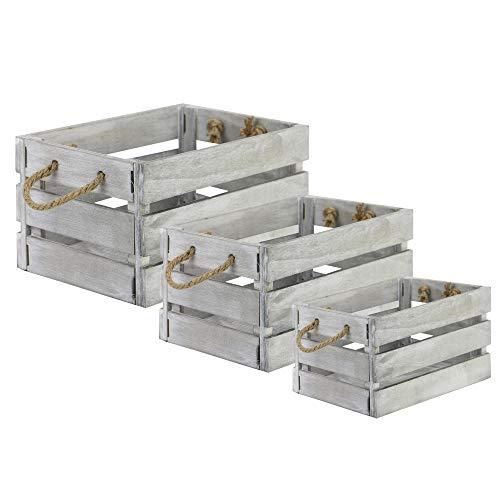 Cajas de almacenamiento de madera - Juego de 3 | Cajas de bushel vintage con asas de cuerda | Cesta decorativa de almacenamiento gris | M&W