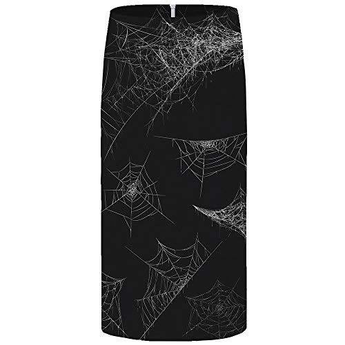 Falda Midi De Mujer,Negro Divertido Telaraña Impresa Faldas Lápiz Para Mujer Cintura Alta Estiramiento Sexy...