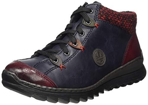 Rieker Damen M62A4 Hohe Sneaker, Blau (Wine/Navy/Graphit/Brandy/Forest/Rot-Schwarz 37), 38 EU