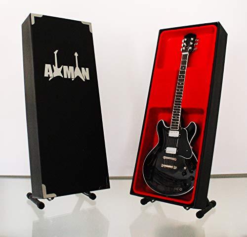 Roy Orbison Gitarre–Modell Mini Rock Kuriositäten Nachbildung Holz Miniatur-Gitarre & Display Gratis Ständer (UK Verkäufer)