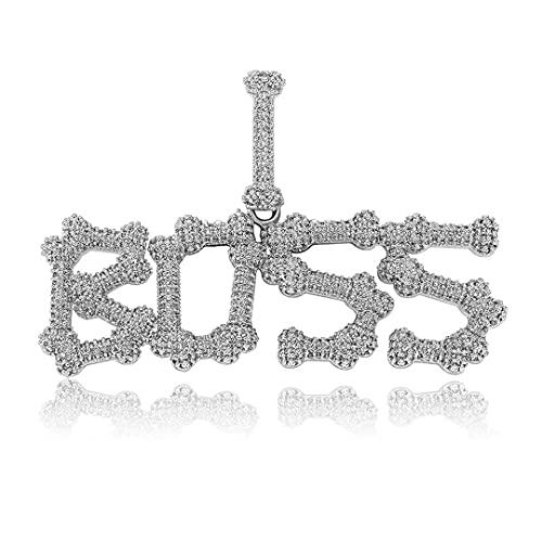 Collar Personalizado A-Z Collar con Colgante de Letra de Nombre Personalizado Joyería pequeña Collar de Letra de Hueso Chapado en Oro de 14 K Colgante de Cristal de Hielo Collar Hombres Mujeres