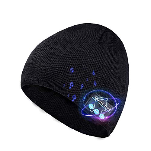 Bluetooth Beanie Hat, Unisex Beanies Cap Wireless V5.0 Music Caps with Headphones Stereo Speakers Unique Christmas Tech Gifts for Men Women Teen Boys Girls