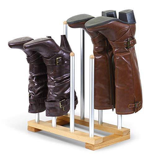INNOKA 4 Pairs Boot Rack Organizer, Standing Wooden & Aluminum Storage Holder Hanger for Riding Boots, Rain Boots, Shoes - Easy to Assemble, Space-Saving, Keep Boots in Shape