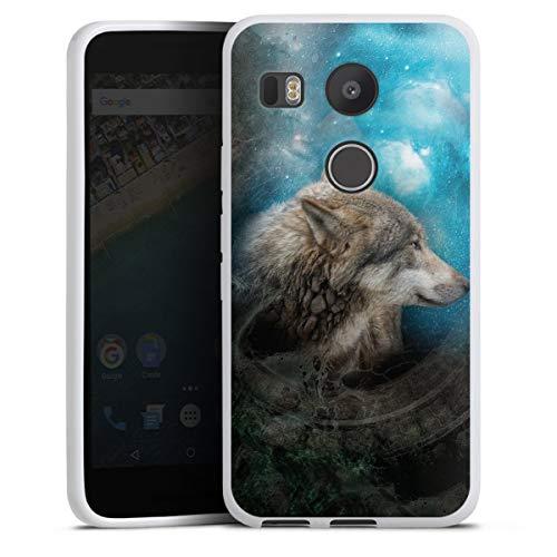 DeinDesign Silikon Hülle kompatibel mit Google Nexus 5X Hülle weiß Handyhülle Wolf Galaxie