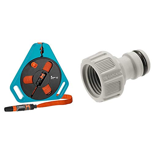 Gardena Classic roll-fix Flachschlauch 15 mit Kassette: Platzsparende Schlauchkassette mit Wasserschlauch & Hahnverbinder 21 mm (G 1/2 Zoll): Anschluss für Wasserhähne mit Gewinde