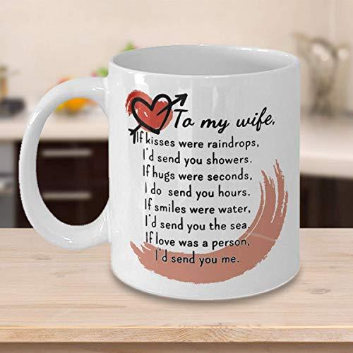 N\A Regalo para Halloween - Navidad para mi Esposa Taza de café Taza de Regalo del Esposo Te Amo Beso con corazón Poema Poeta
