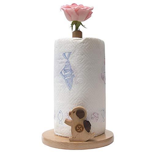 Iceclubs Küchenrollenhalter, Küchenrollenhalter Mit Holzblume - Schwein,Geeignet Für Alle Handelsüblichen Papierhandtuchrollen Sowie Praktische und Praktische Küchenutensilien