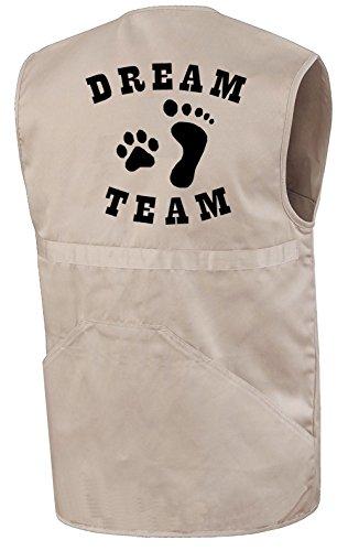 Hundesportweste | Dream Team Mensch und Hund | Beige | Brust- und Rückendruck | Größe L