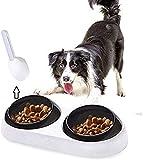 Secwell Ciotola per alimentatore lento per Animali Domestici Antiscivolo E Ortopedica Ciotola per cani E misurino per animali domestici Bacino per alimenti per cani(Double Bowl)