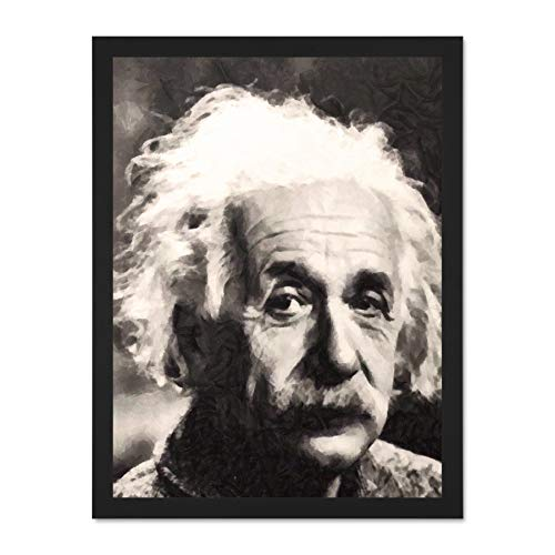 Doppelganger33 LTD Painting Portrait Science Physicist Genius Albert Einstein Large Framed Art Print Poster Wall Decor 18x24 inch Supplied Ready to Hang