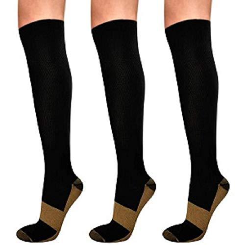 Ikfashoni Kompressionsstrümpfe Damen und Herren 3 Paar 15-20mmHg Kniestrümpfe Kompressionssocken Reduzieren Beinschmerzen Stützstrümpfe für Laufen, Sport, Erholung, Blutzirkulation, Flug