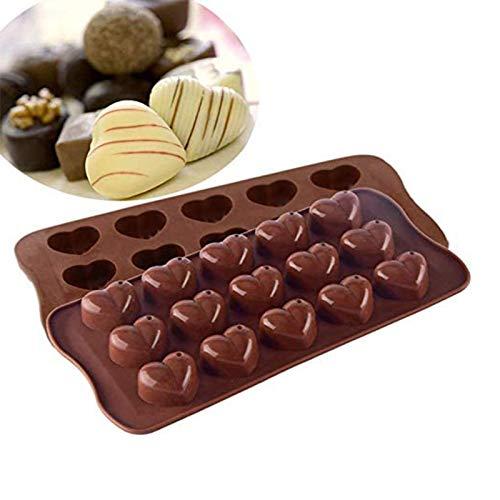 Molde de Silicona para Chocolate, 2 Piezas en Forma de corazón, Antiadherente para Caramelos, moldes de Silicona para Hornear, para Hacer gelatina, Cocina, Molde para Hornear para Chocolate