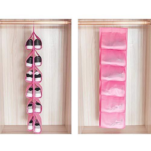 XWSQ Travel Home Storage para guardarropa Armario Bolsa de Almacenamiento Puerta Pared Varios Bolsa de Zapatos con Bolsa para Colgar, Organizador de Bolsos para Colgar Zapatos (2 Piezas)