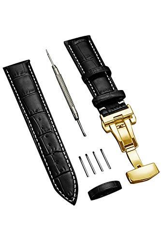時計 ベルト 時計 バンド 24mm 23mm 22mm 21mm 20mm 19mm 18mm 本革腕時計バンド 交換ベルト Dバックル 防水 防汗 メンズ腕時計レザーベルト 工具付き ボックス付き (22mm, ブラック/白ステッチ/ゴールドバックル)