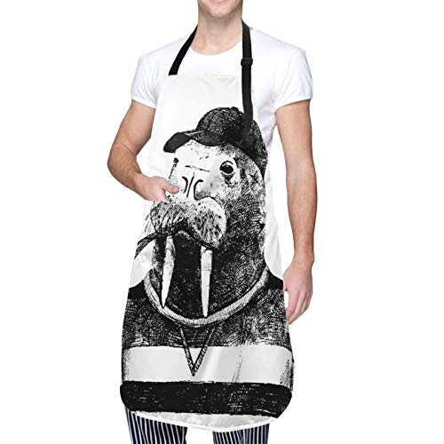 MAYBELOST Ajustable Colgante de Cuello Personalizado Delantal Impermeable,Boceto de arte de una morsa con una pipa y una gorra vestida con estilo hipster,Babero de Cocina Vestido con 2 Bolsillos