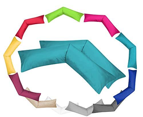 MOON Luxury Linon 2er Pack Kissenbezug für Seitenschläferkissen 40x145 Petrol, Kissenhülle 100% Baumwolle