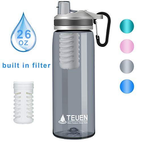 TEUEN Wasserfilter Trinkflasche 770ml Wasserflasche mit Filter Entfernt Bakterien & Protozoen, Camping Wasseraufbereitung Trinkwasser Portabler Wasserfilter Outdoor Survival Trinkwasserfilter (Grau)