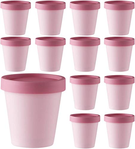 12Pcs 68oz/200ml Empty Mixing Bowls With Lids  Leakproof Cosmetic Plastic Containers With Lids  Spa Facial Mask Mixing Bowls  Empty Containers for Beauty Products amp Slime Containers With Lids