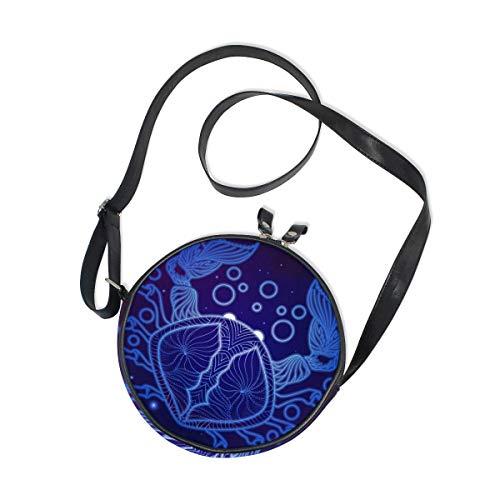 Alan Connie Bolso redondo para mujer signo del zodiaco cangrejo horóscopo galaxia bandolera bolso mano pequeño monedero lindo