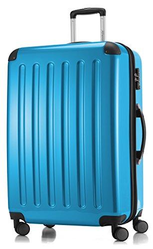 HAUPTSTADTKOFFER - Alex - 4 Doppel-Rollen Großer Hartschalen-Koffer Koffer Trolley Rollkoffer Reisekoffer, TSA, 75 cm, 119 Liter, Cyanblau