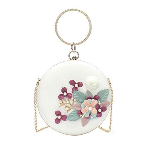 TENDYCOCO - Bolso de noche redondo con perlas, flores, bolso para mujer, bolso de mano, color Blanco, talla 18 * 18 * 5 cm