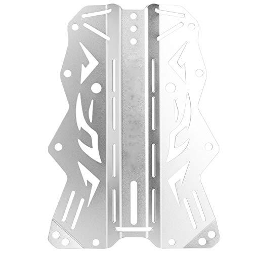 SALUTUY Placa Posterior de Buceo de Borde Liso, para Buceo técnico(Silver)