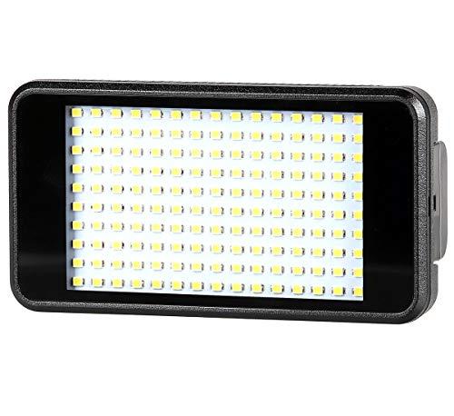 ayex LED-licht, videolamp in smartphone-formaat met 150 leds en Li-ion batterij (2300 mAh) inclusief oplader, diffusoren en kantelaar met flitsschoenaansluiting en 1/4